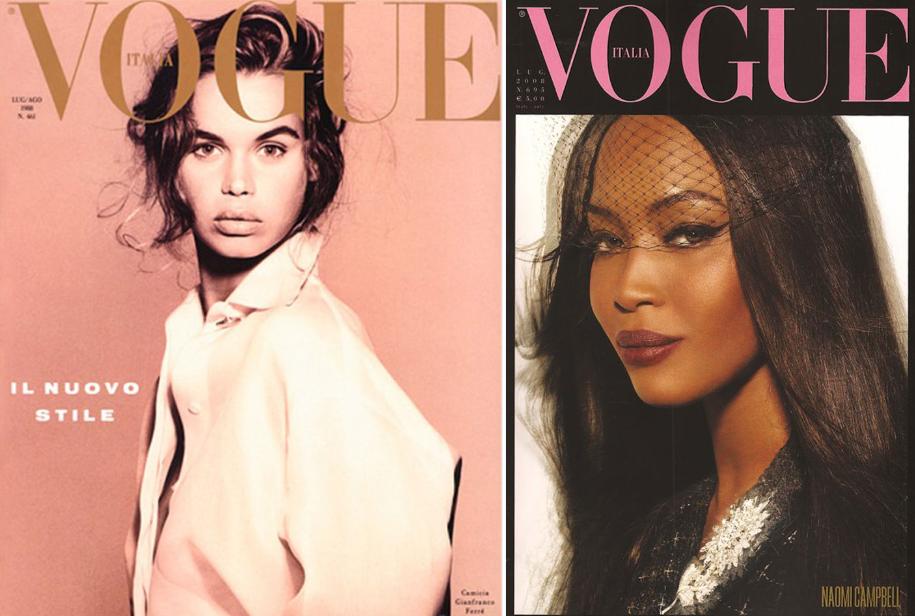 Na esquerda, primeira capa de Franca como editora. Na direita, Naomi Campbell em uma das capas da 'All Black Issue'.